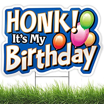 Bigtime Signs HONK! It's My Birthday Party Sign - 1pc Yard Decoration with Metal Stakes - Weatherproof Corrugated Plastic Board - Colorful Banner Style Lawn & Backyard Decor for Outdoor Celebration