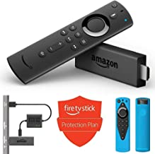 Fire TV Stick + USB Power Cable + Protection Plan + Alexa Voice Remote Cover (Blue)