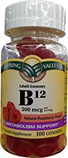 Spring Valley Adult Gummy B12, 500mcg Per Serving, 100ct, Metabolism Support