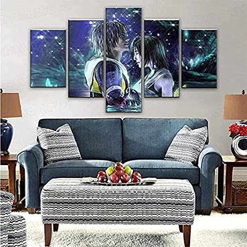 5Pcs Kiss Macalania Yuna Ffx Tidus Final Lake Fantasy Art Lienzo Pinturas para impresiones Carteles Arte de la pared Cartel de fondo Regalo de año nuevo