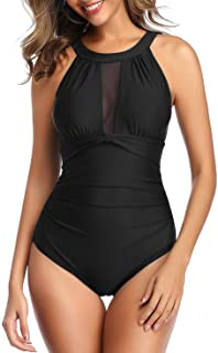 Joweechy Ruched Tummy Control One Piece Swimsuit Swimwear Retro Vintage Swimming Costume for Women