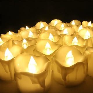 ZUOAO Set de 12pcs Velas sin llama LED con Temporizador La Romántica Luz Eléctrica Parpadeo de la Vela para Decoración Candelita para Bodas Fiesta de Navidad Casa Sala (Amarillo)