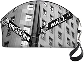 NYC Decor Small portable cosmetic bag,Street Signs of intersection of Wall Street and Broadway Finance Art Destinations Photo for Women,10.8
