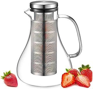 ecooe Szklana karafka 1500 ml Fruit Infuser dzbanek szklany ze szkła borokrzemowego dzbanek na wodę z pokrywką ze stali ni...