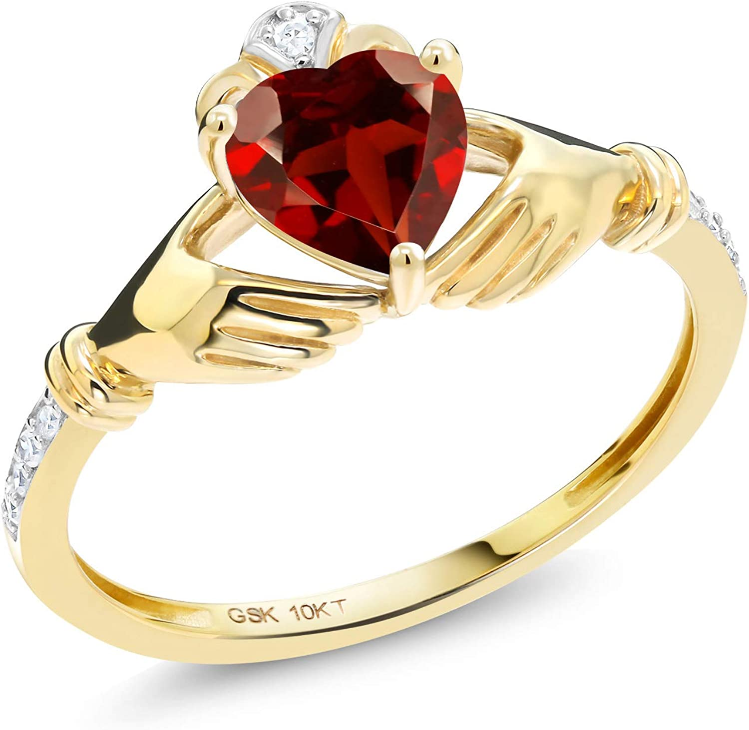 Gem trend rank Stone King 10K Yellow Gold Promise Engagement Complete Free Shipping Ring Claddagh