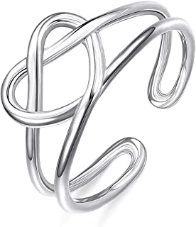 Sllaiss 925 Sterling Silver Celtic Knot Rings for Women Vintage Heart Love Knot Knuckle Rings Adjustable Open Toe Ring Sta...
