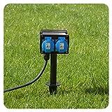 Gartensteckdose mit 4 Schutzkontakt Steckdosen Außensteckdose 4-fach mit Erdspieß für Außen...