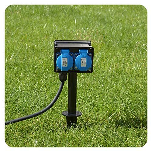 Gartensteckdose mit 4 Schutzkontakt Steckdosen Außensteckdose 4-fach mit Erdspieß für Außen IP44-10m Kabel Zuleitung 230V