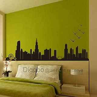 Diggoo City Silhouette Chicago Skyline Wall Decal Living Room Vinyl Art Sticker(Black,l)