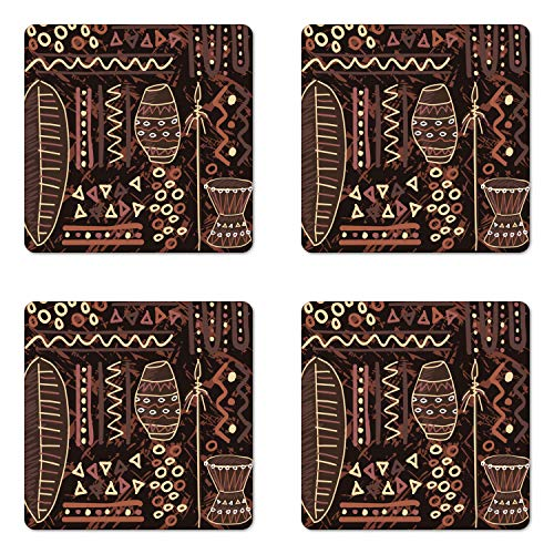 Lunarable Brown Coaster Set of Four by, African Ethnic Tribal Image with Geometrical Shapes Artwork Print, Square Hardboard Gloss Coasters for Drinks, Dark Brown Cocoa and Cream