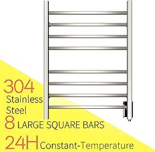HEATGENE Hot Towel Warmer for Bath Heated Drying Rack 8 Square Bar Mirror Polish