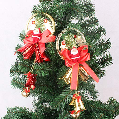 Christmas Tree Ornaments Small Christmas Decorations for Home Plush Hanging with Bells Decor for Xmas Tree Santa/Snowman/Reindeer/Bear Little Christmas Tree Pendants Small Xmas Decorations Set