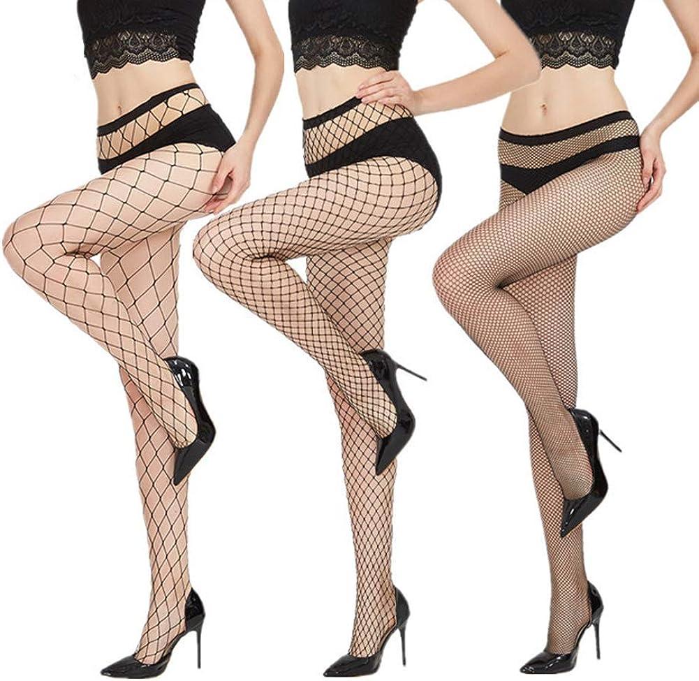 ATYSKEN Fishnets Tights Ladies Stockings Thin Pantyhose Black Cross Mesh Sexy for Women(3Pairs-samll-middle-large)