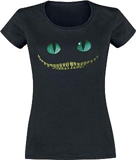 Alicia en el País de Las Maravillas Gato Chesire - Smile Mujer Camiseta Negro, Regular
