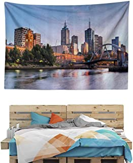 HuaWuChou Morning Australia River Tapestry, Wall Hanging Mandala Bohemian Wall Tapestry 3D Vision Nature Tapestry Wall Hanging, 90.5W x 59L Inches