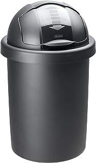 Rotho Roll Bob poubelle ronde 30l avec couvercle, Plastique (PP) sans BPA, noir, 30l (35,5 x 35,5 x 59,5 cm)