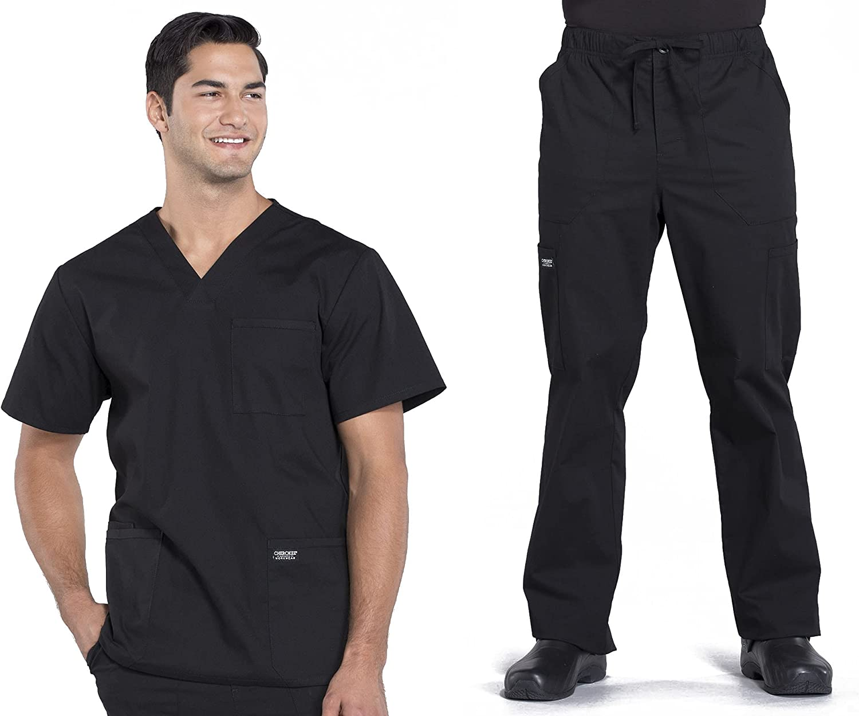 Workwear Professionals Men Scrubs Set V-Neck Top WW695 & Drawstring Pant WW190T (Black, XL/XL Tall)