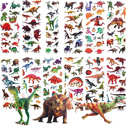 Bebester Dinosaur Stickers for Kids, 12 sheets Puffy Stickers Dinosaur Party Supplies Favors Kids Craft, Party Favors, Scrapbook Making, Reward Stickers