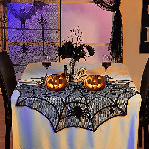 DECARETA Halloween Tischdecke Rund Schwarz Spinnennetz Spinnweben 102 cm Durchmesser Halloween Tischdeko Spinnen Netz für Karneval Halloween Party Dekoration
