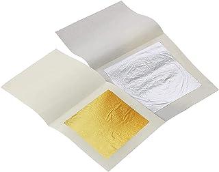 "VGSEBA Edible 24K Gold Leaf Sheets, 10 Sheets 1.7"" x 1.7"" Gold Foil Sheet and 10 Sheets 2.36"" x 2.36"" Pure Silver Leaf She..."
