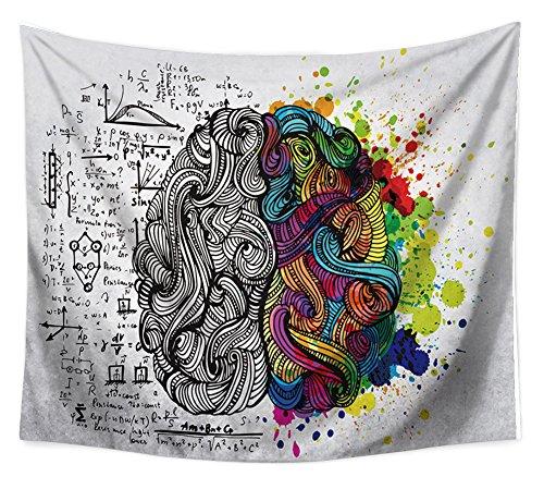 Abstrakte cerveau Tapis mural Motif cerveau gauche et droit côté Logik Science Sensation et paroi latérale en tapisserie Boho Tenture murale Couverture Mandala Plage Taupe Rideau 79*59in multicolore