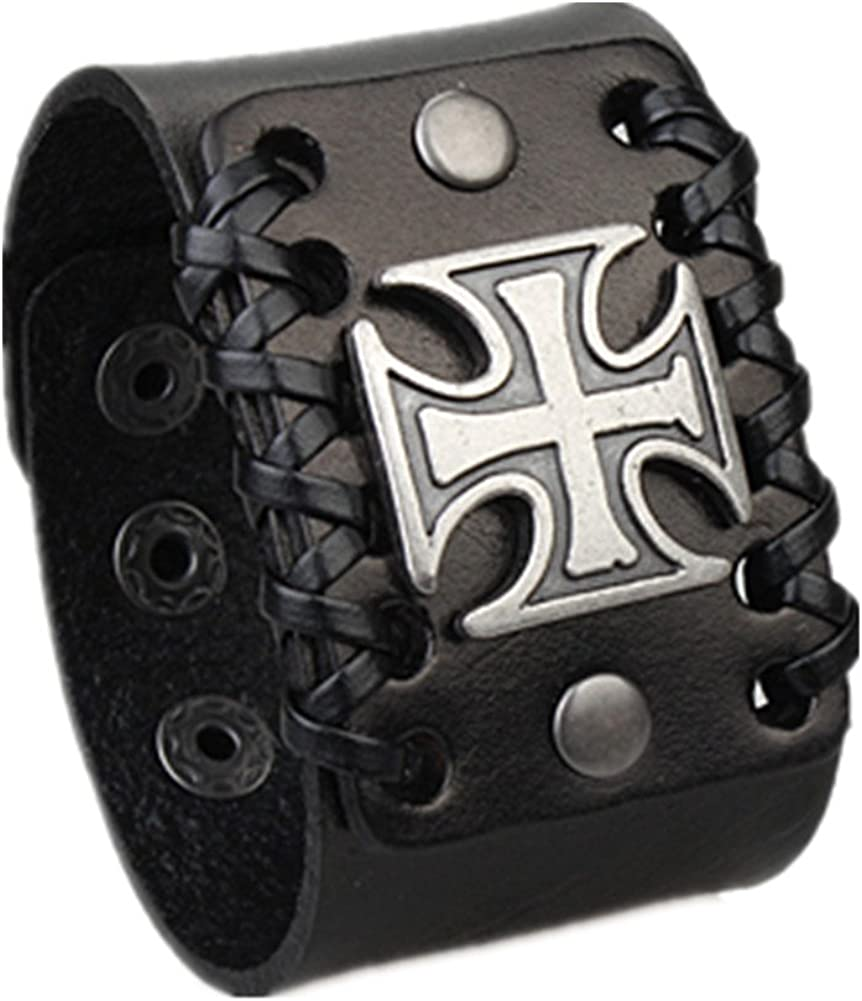 COOLLA Mens Now free shipping Retro Cross Adjustable Cuff Leather Bracel Excellence Wristband