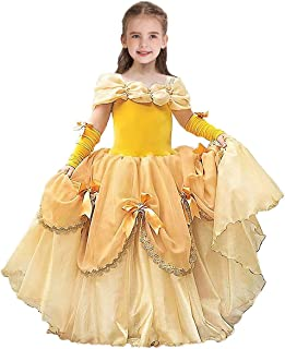 HIHCBF Girls Beauty and The Beast Costume Christmas Halloween Carnival Fancy Dress Belle Princess Birthday Party Ball Gown