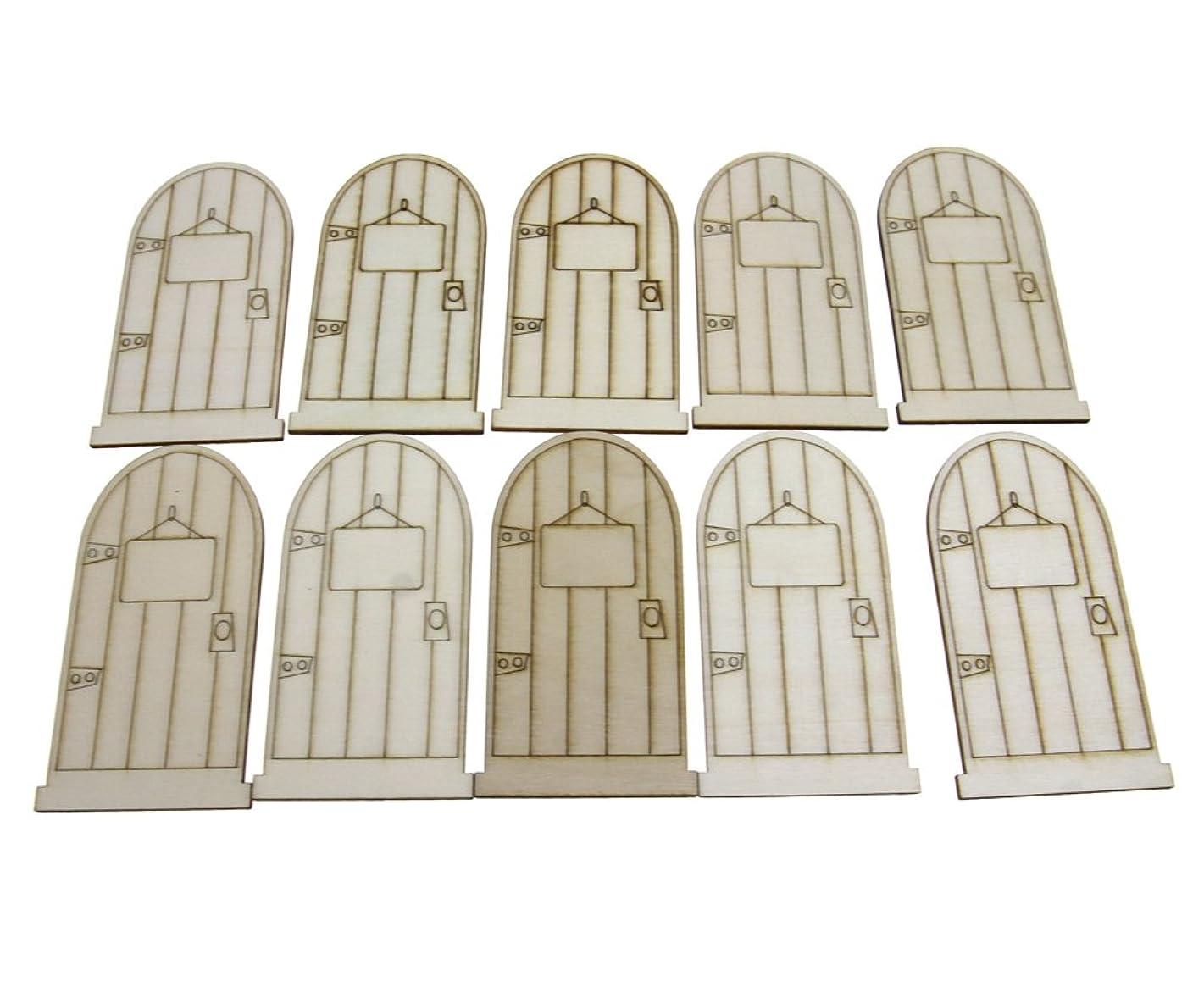 10pcs DIY Crafts Unpainted Elf Faires Wooden Door Embellishments Dollhouse