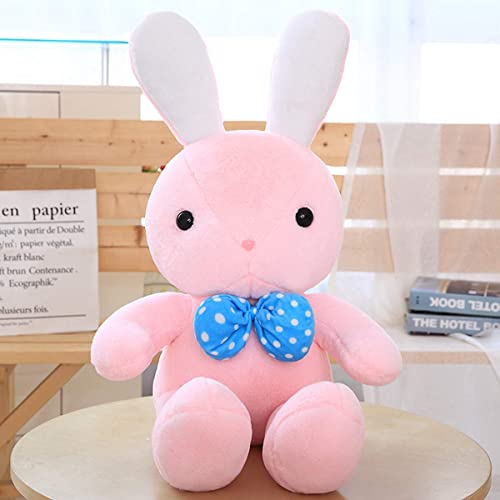 BAONZEN Plüschtier Hase Kissen Puppe Puppe niedlich schlafen Umarmung mädchen Puppe Geburtstagsgeschenk Korea lustig, in. aue Schleife Hase Rosa, 80cm