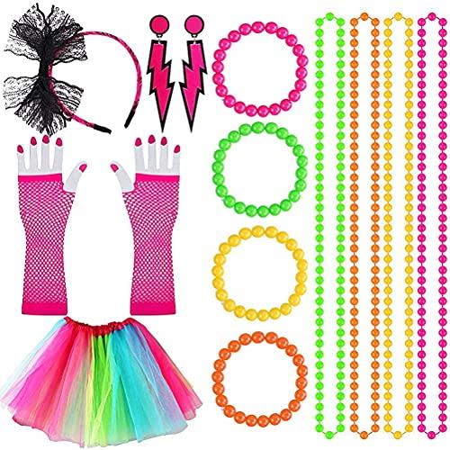 Eksesor Accesorios para Disfraces De Los AOs 80, Accesorios para Vestidos De Fiesta para Mujer, Conjunto para Disfraz De Fiesta para Mujer, Collar, Pulsera, Diadema, Pendientes, Guantes