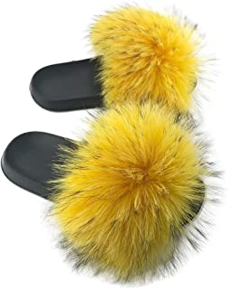 Womens Luxury Real Raccon Fur Slippers Slides Indoor Outdoor Flat Soles Soft Spring Summer Shoes