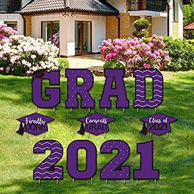 Tatuo 11 Pieces Graduation Yard Sign Decorations Congrats Graduation Lawn Signs 2021 Grad Yard Signs with 23 Stakes for Outdoor Congrats Graduation Party Decoration Supplies (Purple)