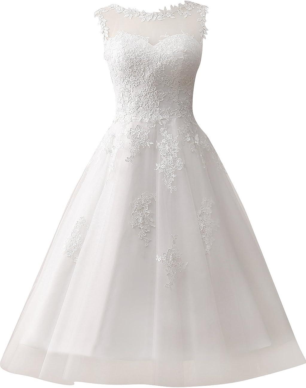 Wedding Dress Lace Bride Dress Short Vintage Wedding Gown Tulle Bridal Gowns Appliques