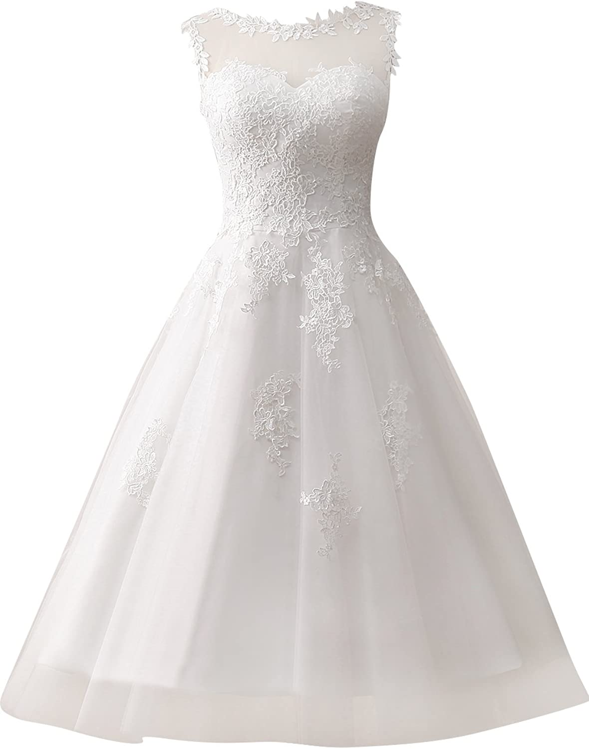 JAEDEN Short Wedding Dress Lace Bridal Gown Tulle Appliques Sleeveless
