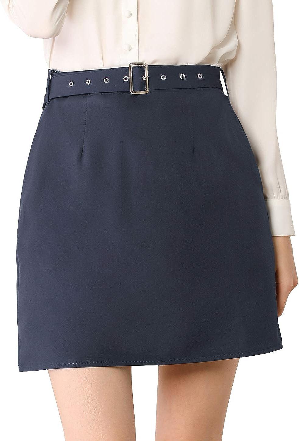 Allegra K Women's Work Office Belted Elastic Waist Back Mini Skirt with Pockets