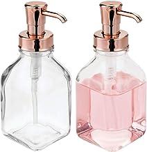 mDesign - Dispensador de jabón líquido de vidrio cuadrado recargable para baño, lavabo, fregadero de cocina, capacidad par...