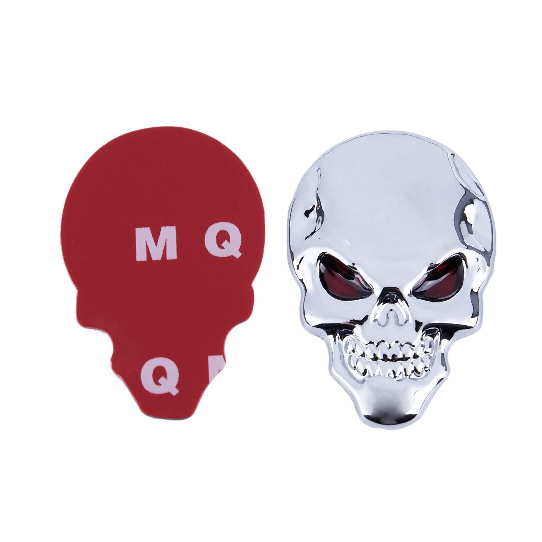 SODIAL(R) Metal 3D Calavera Hueso Forma Coche Exterior Adhesivo Decorativo Plateado Tono: Amazon.es: Coche y moto