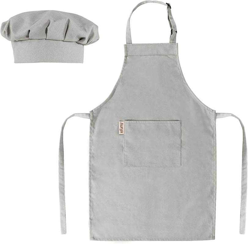 Kids Apron And Chef Hat Set Adjustable Child Apron For Boys And Girls Aged 6 14 Children S Kitchen Bib Aprons With Large Pocket For Cooking Baking Painting Light Gray