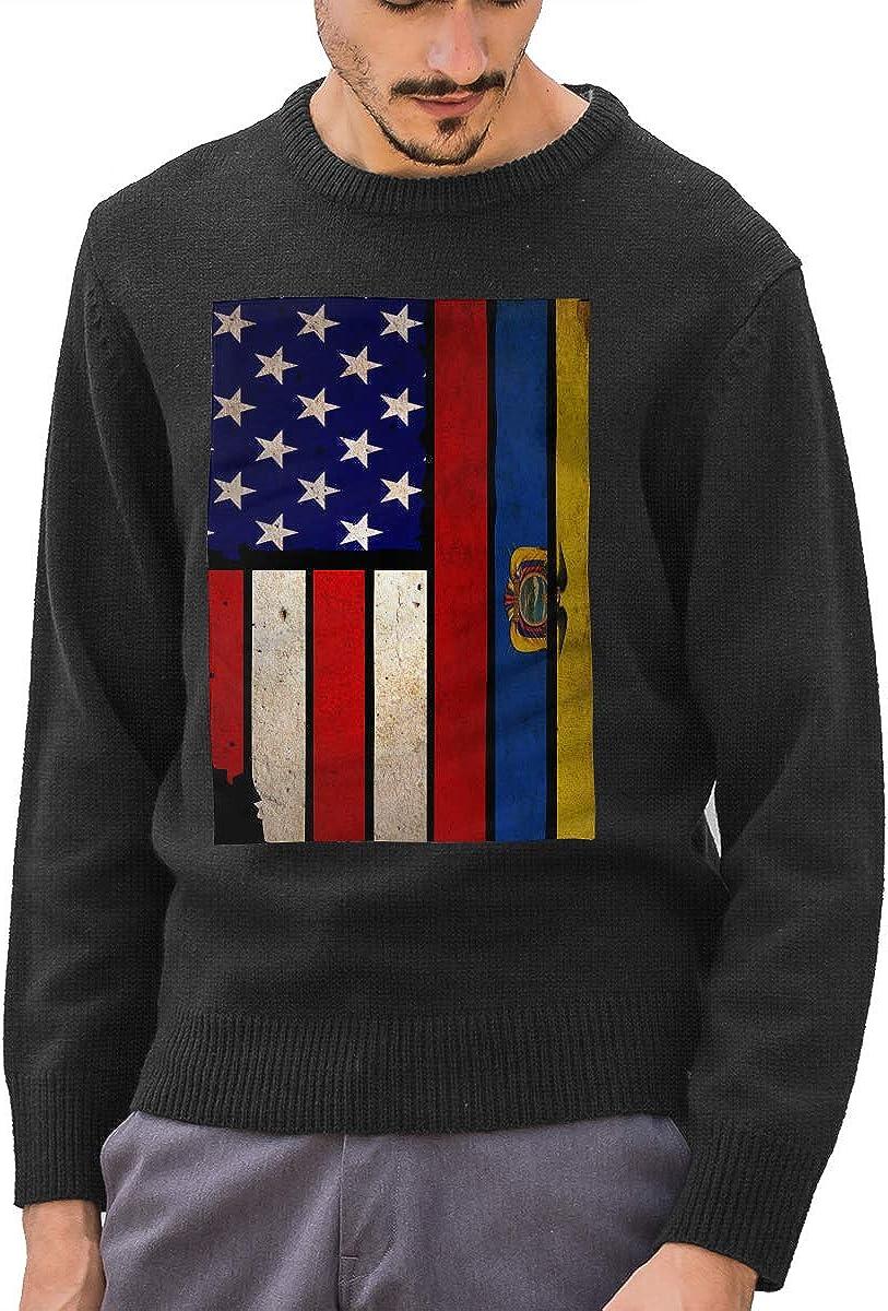 Men's Vintage USA Ecuador Flag Round Neck Long Sleeve Basic Pullover Sweater Winter Tops
