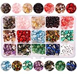 Colle 15 Colors 700Pcs Natural Crystal Beads for Jewelry Making Supplies, Healing Gemstones Waist Bracelets Necklace Kit Irregular Chips Stone Box Set