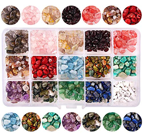 Colle 15 Colors 700Pcs Natural Crystal Beads for Jewelry Making Supplies,...