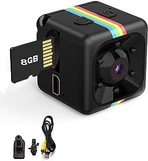 Mini Cámara Espía Oculta Mini Cámara de Vigilancia con Tarjeta SD de 8GB, 1080P HD Grabadora de Video Portátil Camaras de ...