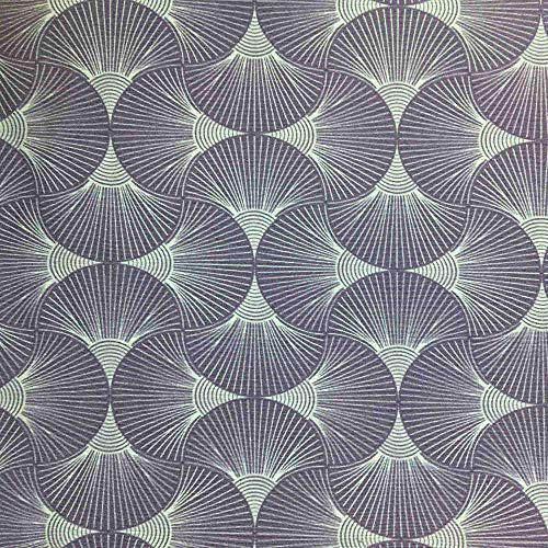 Tela por metros de loneta estampada - Ancho 280 cm - Largo a elección de 50 en 50 cm | Geométrico japonés. Abanicos - Azul, lila