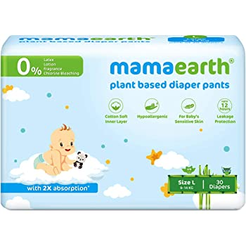Mamaearth Plant-Based Diaper Pants for Babies – 9-14 kg (Size L - 30 Diapers)