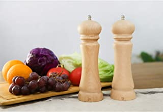Salt and Pepper Grinder Set-Beech wood Salt and Pepper Shakers Adjustable Coarseness Ceramic Mill Wooden Pepper Mill & Salt Grinder Spice Grinder Set (9.3 Inch) Solid Wooden Herb Grinder Chef Gift