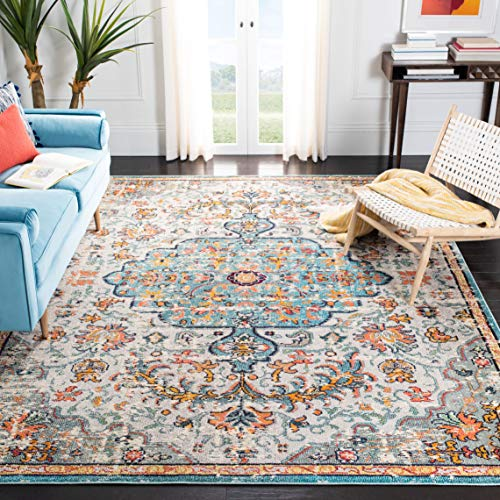 Safavieh Madison Collection MAD447F Boho Chic Medallion Distressed Non-Shedding Living Room Bedroom Dining Home Office Area Rug, 5'3' x 7'6', Grey / Light Blue