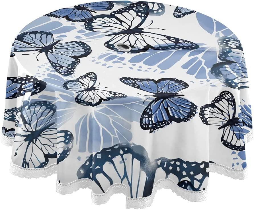 xigua 60Inch Tablecloth Blue 5 ☆ very popular Butterfly Cloth - Round Table Manufacturer OFFicial shop Washa