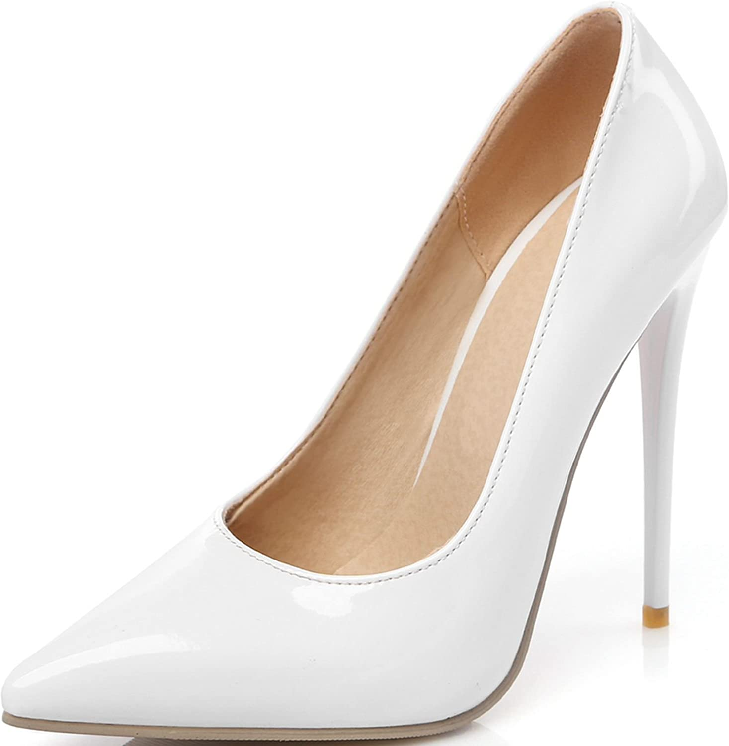 KingRover Women's Pointy Toe High Heels Slip On Stilettos Large Size Wedding Party Evening Pumps shoes
