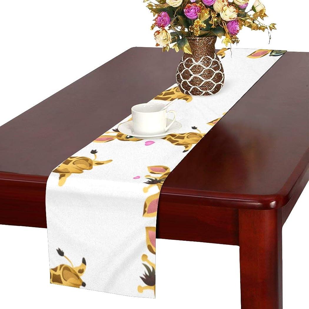 進捗テープ不道徳GGSXD テーブルランナー 陸上のキリン クロス 食卓カバー 麻綿製 欧米 おしゃれ 16 Inch X 72 Inch (40cm X 182cm) キッチン ダイニング ホーム デコレーション モダン リビング 洗える
