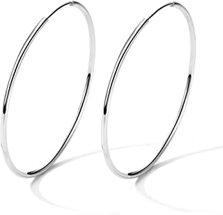 925 Sterling Silver Hoop Earrings Large and Small Thin Lightweight Hoops Birthday Gift for Women 25 35 40 45 50 55 60 65 mm